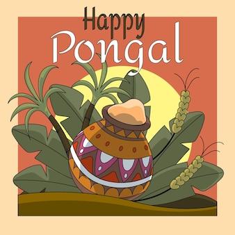 Hand getekend pongal evenement illustratie