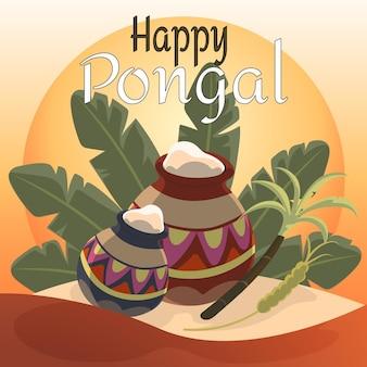Hand getekend pongal evenement