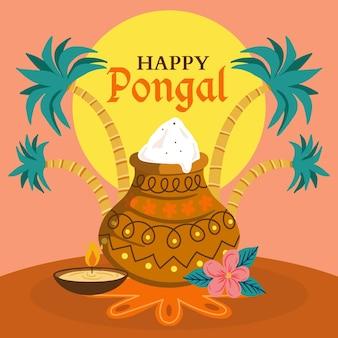 Hand getekend pongal festival