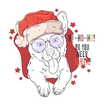 Hand getekend portret van corgi hond in kerst accessoires vector.