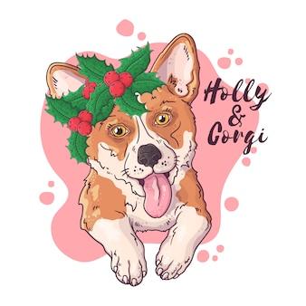 Hand getekend portret van corgi hond met kerst bloemen vector.