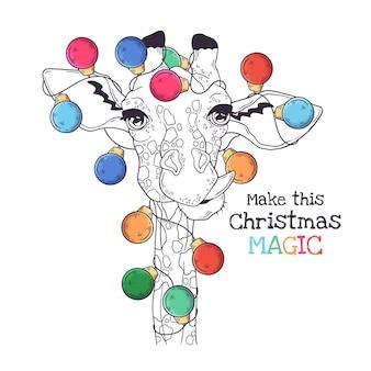 Hand getekend portret van dier in kerst accessoires vector.