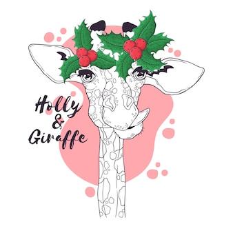 Hand getekend portret van giraf in kerst accessoires vector.