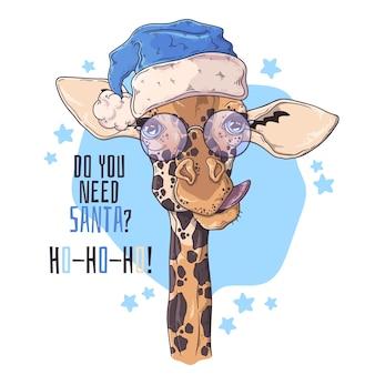 Hand getekend portret van giraf in kerstaccessoires.