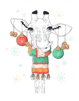 Hand getekend portret van giraf in kerstmis