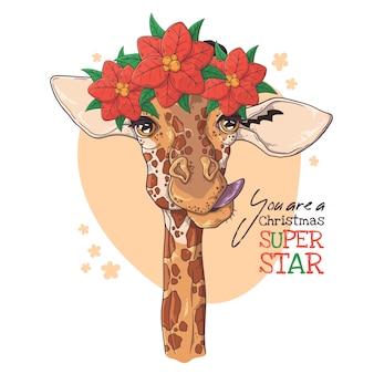 Hand getekend portret van giraf met kerst bloemen vector.