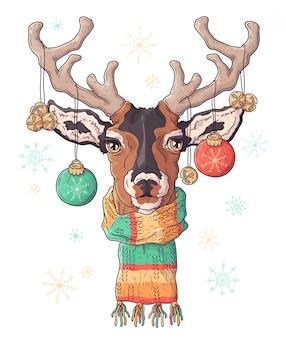 Hand getekend portret van herten in kerstaccessoires.