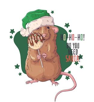 Hand getekend portret van rat in kerstaccessoires.