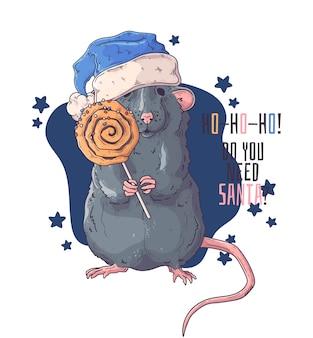 Hand getekend portret van rat in kerstaccessoires