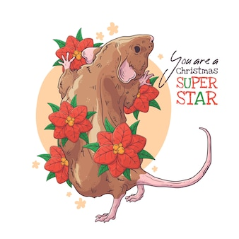 Hand getekend portret van rat met kerst bloemen vector.