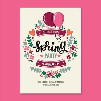 Hand getekend poster sjabloon voor lente feest