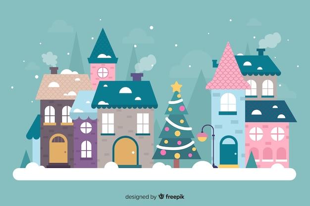 Hand getekend prachtige kerststad