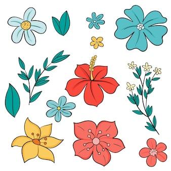 Hand getekend prachtige lente bloemenpak