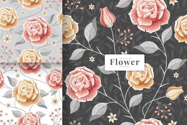 Hand getekend prachtige pastel kleuren bloemmotief collectie