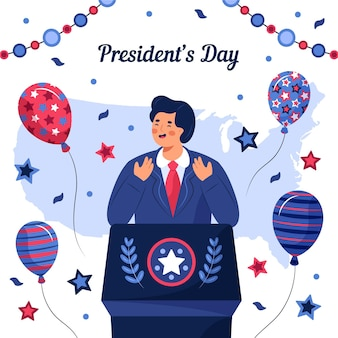 Hand getekend president's day illustratie