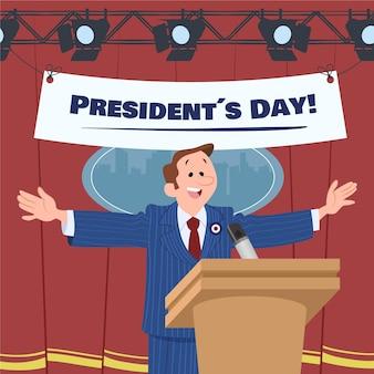 Hand getekend president's day Gratis Vector