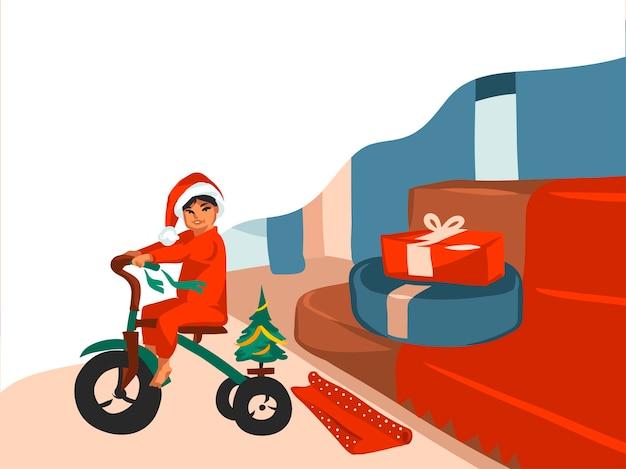 Hand getekend prettige kerstdagen en gelukkig nieuwjaar cartoon feestelijke kaart