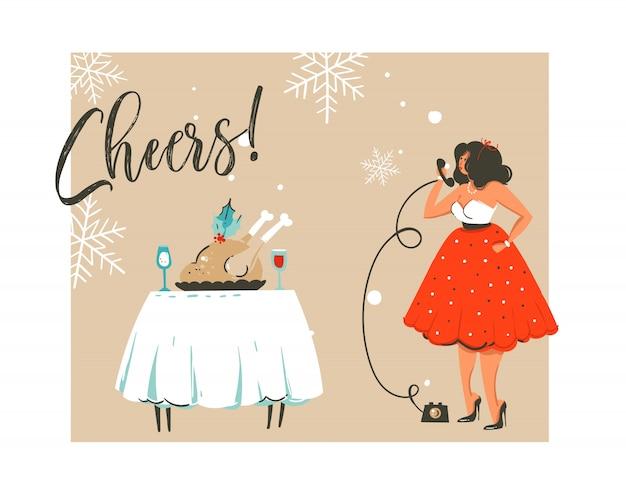 Hand getekend prettige kerstdagen en gelukkig nieuwjaar tijd retro vintage coon illustratie wenskaart met beautuful vrouw in jurk en moderne typografie op witte achtergrond