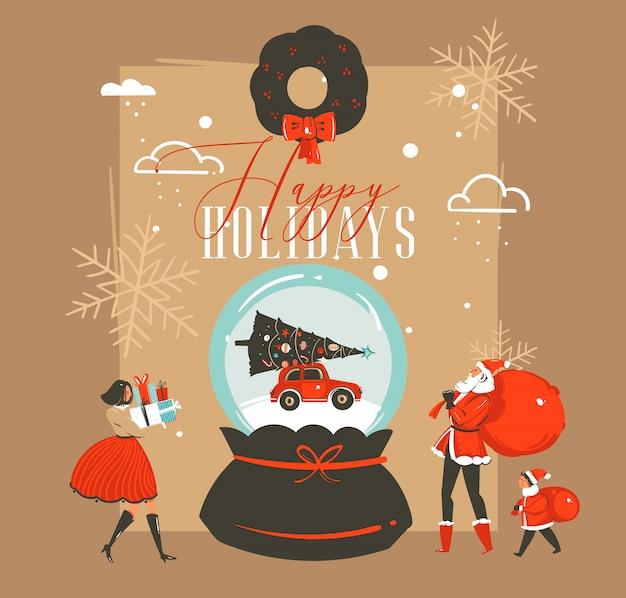 Hand getekend prettige kerstdagen en gelukkig nieuwjaar tijd retro vintage coon illustraties wenskaart met sneeuw bol globe en happy xmas markt mensen op bruine achtergrond