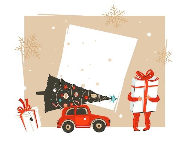 Hand getekend prettige kerstdagen en gelukkig nieuwjaar tijd vintage cartoon afbeelding met kleine jongen jongen die grote geschenkdoos geïsoleerd te houden
