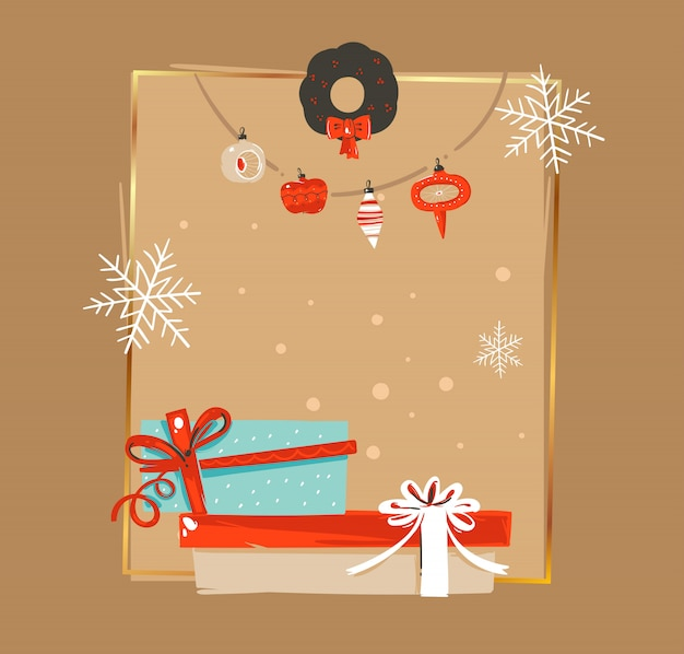 Hand getekend prettige kerstdagen en gelukkig nieuwjaar tijd vintage coon illustraties wenskaart tag sjabloon met kerstboom bauble garland en verrassing vak op bruine achtergrond