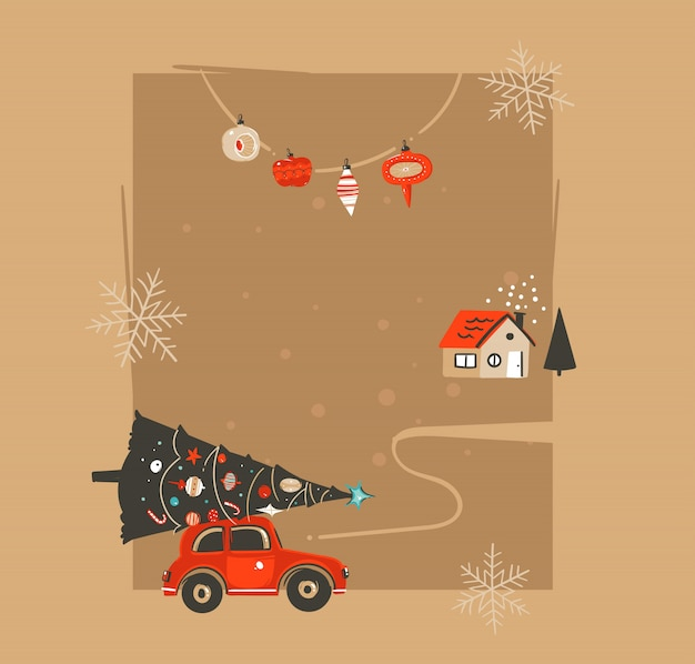 Hand getekend prettige kerstdagen en gelukkig nieuwjaar tijd vintage coon illustraties wenskaartsjabloon met auto en ingerichte kerstboom op ambachtelijke papier achtergrond