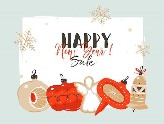 Hand getekend prettige kerstdagen en gelukkig nieuwjaar verkoop tijd coon illustraties groet koptekst sjabloon met kerstboom bauble speelgoed en plaats voor uw tekst op witte achtergrond