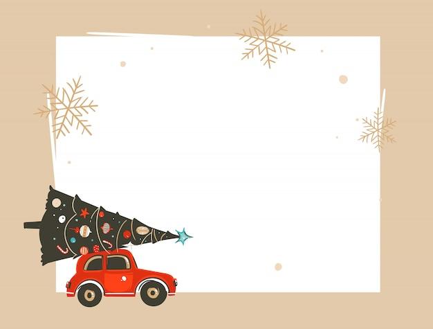 Hand getekend prettige kerstdagen en gelukkig nieuwjaar verkoop tijd coon illustraties groet koptekst sjabloon met kerstboom, rode auto en plaats voor uw tekst op witte achtergrond