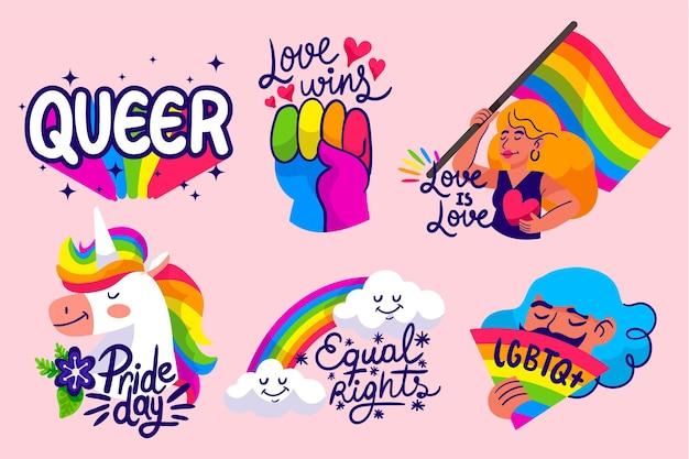 Hand getekend pride-dag badge-collectie