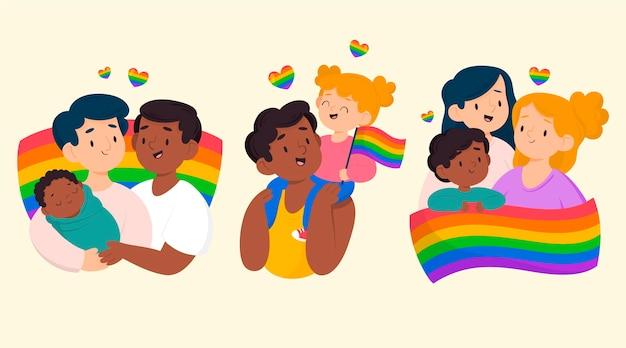 Hand getekend pride-dag familiecollectie