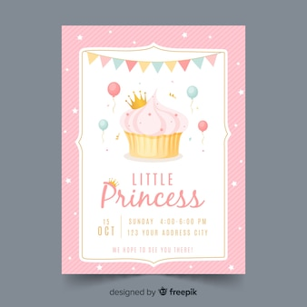 Hand getekend prinses feest uitnodiging sjabloon