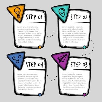 Hand getekend professionele infographic stappen