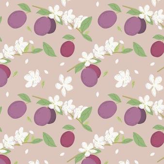 Hand getekend pruim fruit en bloemen patroon