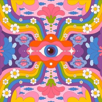 Hand getekend psychedelische groovy achtergrond