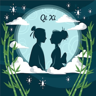 Hand getekend qi xi dag festival illustratie