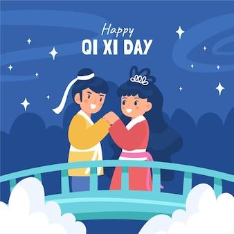 Hand getekend qi xi dag illustratie