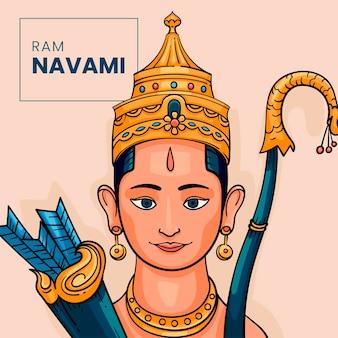 Hand getekend ram navami illustratie