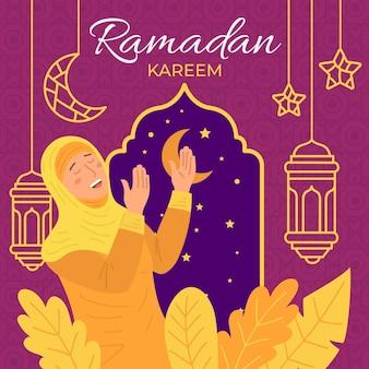 Hand getekend ramadan concept geïllustreerd