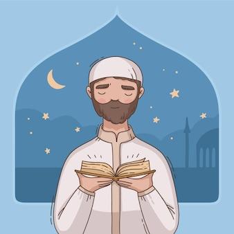 Hand getekend ramadan illustratie met persoon bidden