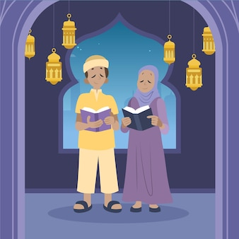 Hand getekend ramadan illustratie