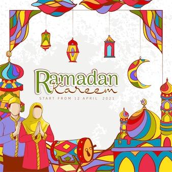 Hand getekend ramadan kareem banner met kleurrijke islamitische versiering op grunge textuur