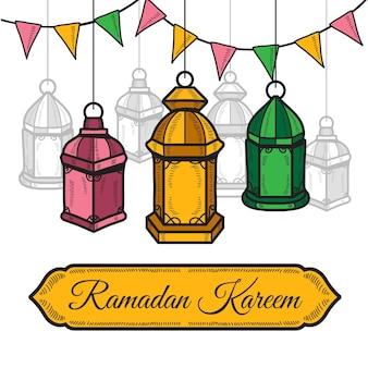 Hand getekend ramadan kareem illustratie