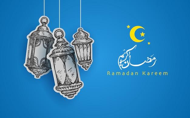Hand getekend ramadan kareem. islamitisch ontwerp met prachtige kleuren en kalligrafieën.