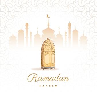 Hand getekend ramadan kareem islamitisch ontwerp