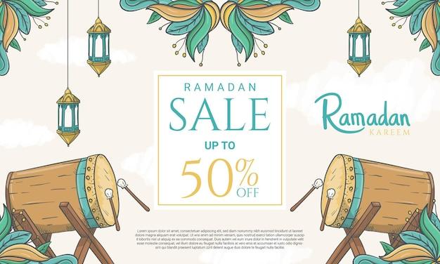 Hand getekend ramadan kareem-verkoopbanner met islamitische ornamentillustratie