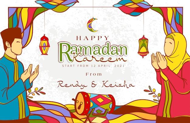 Hand getekend ramadan kareem wenskaart met kleurrijke islamitische versiering op grunge textuur