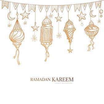 Hand getekend ramadan kareem wenskaart schets ontwerp