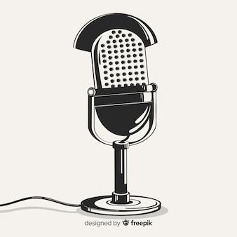 Hand getekend realistische retro microfoon