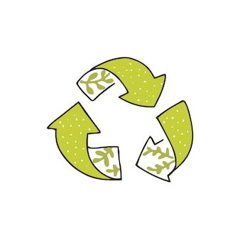 Hand getekend recycling icoon, boom groene pijlen. eco vriendelijke stempel schets met bladeren. vector symbool.
