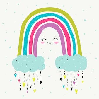 Hand getekend regenboog concept